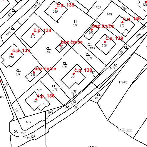 Katastrální mapa Stavební objekt Smrčná 138, Smrčná