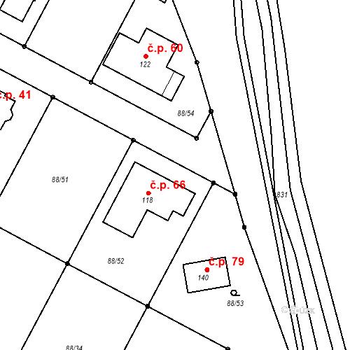 Katastrální mapa Stavební objekt Popice 66, Jihlava