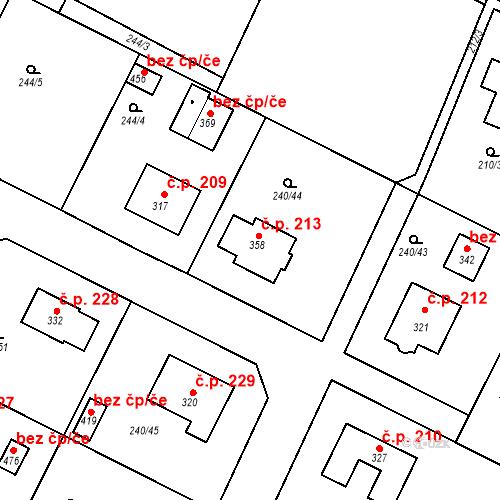 Katastrální mapa Stavební objekt Žehušice 213, Žehušice