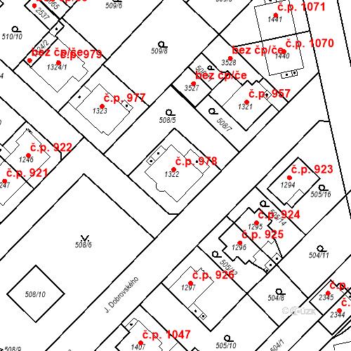 Katastrální mapa Stavební objekt Čáslav-Nové Město 978, Čáslav