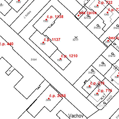 Katastrální mapa Stavební objekt Čáslav-Nové Město 1210, Čáslav
