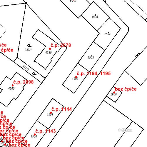 Katastrální mapa Stavební objekt Čáslav-Nové Město 1194, 1195, Čáslav