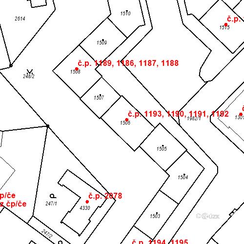 Katastrální mapa Stavební objekt Čáslav-Nové Město 1191, Čáslav