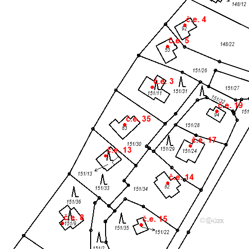 Katastrální mapa Stavební objekt Broumova Lhota 35, Krásná Hora