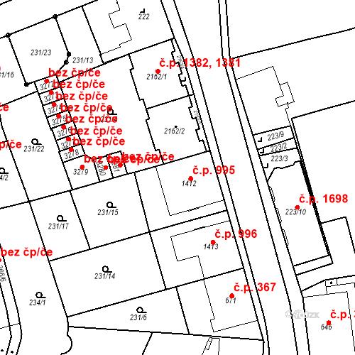Katastrální mapa Stavební objekt Čáslav-Nové Město 995, Čáslav
