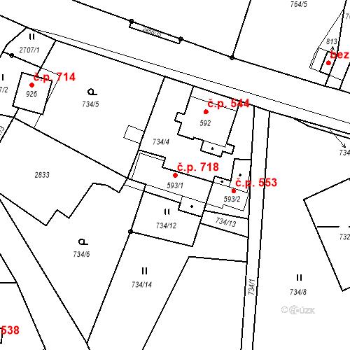 Katastrální mapa Stavební objekt Lučany nad Nisou 718, Lučany nad Nisou