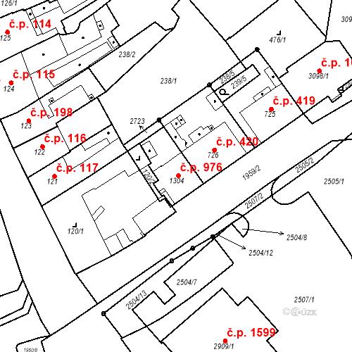 Katastrální mapa Stavební objekt Čáslav-Nové Město 976, Čáslav
