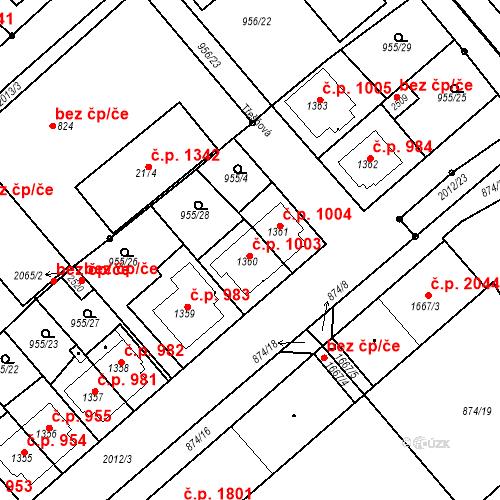 Katastrální mapa Stavební objekt Čáslav-Nové Město 1003, Čáslav