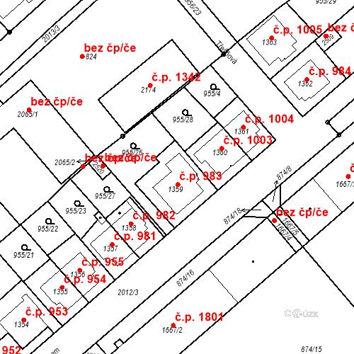 Katastrální mapa Stavební objekt Čáslav-Nové Město 983, Čáslav