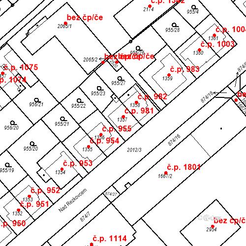 Katastrální mapa Stavební objekt Čáslav-Nové Město 981, Čáslav