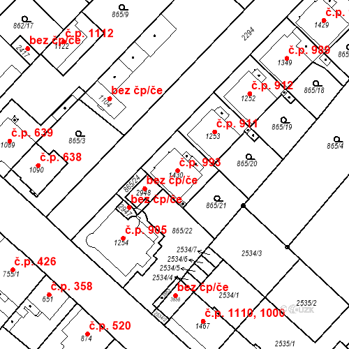 Katastrální mapa Stavební objekt Čáslav-Nové Město 993, Čáslav