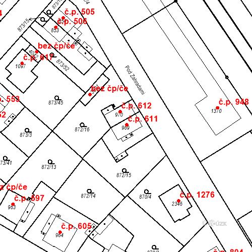 Katastrální mapa Stavební objekt Čáslav-Nové Město 611, Čáslav
