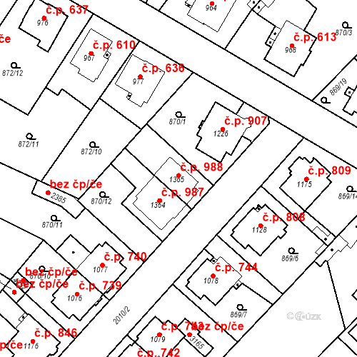 Katastrální mapa Stavební objekt Čáslav-Nové Město 988, Čáslav
