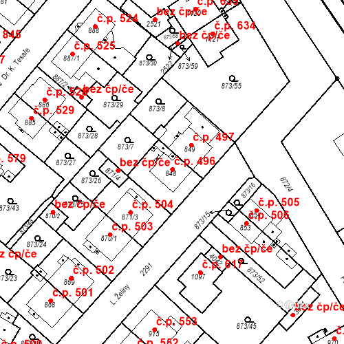Katastrální mapa Stavební objekt Čáslav-Nové Město 496, Čáslav