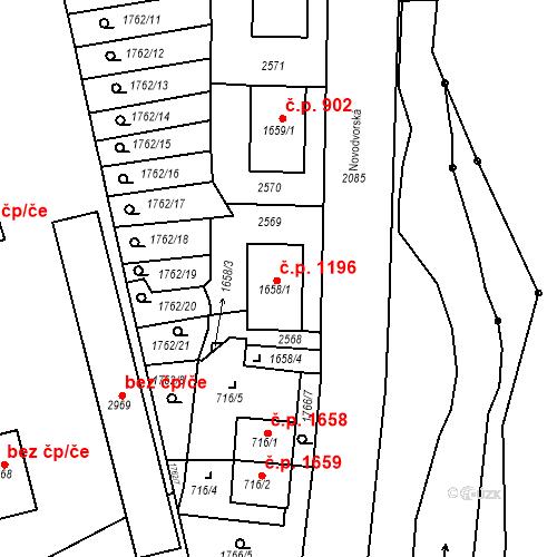 Katastrální mapa Stavební objekt Čáslav-Nové Město 1196, Čáslav