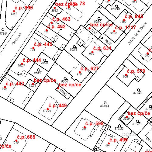 Katastrální mapa Stavební objekt Čáslav-Nové Město 627, Čáslav