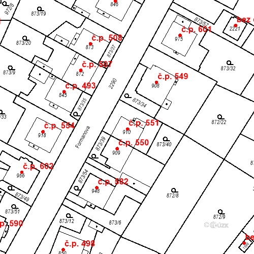 Katastrální mapa Stavební objekt Čáslav-Nové Město 551, Čáslav