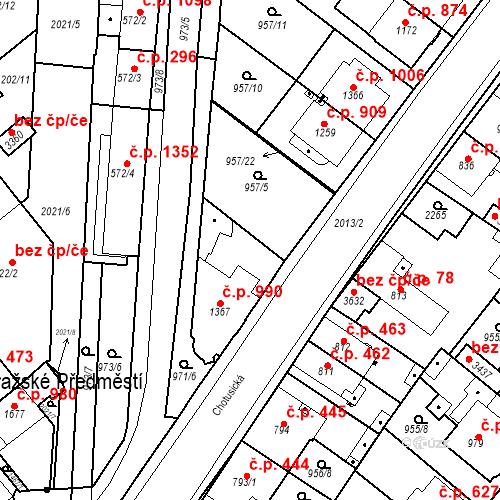 Katastrální mapa Stavební objekt Čáslav-Nové Město 990, Čáslav