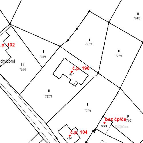 Katastrální mapa Stavební objekt Horní Maxov 196, Lučany nad Nisou