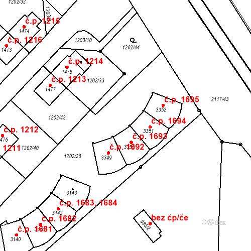 Katastrální mapa Stavební objekt Čáslav-Nové Město 1693, Čáslav