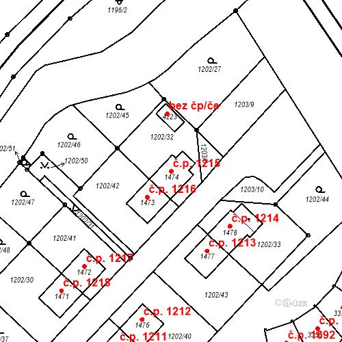 Katastrální mapa Stavební objekt Čáslav-Nové Město 1215, Čáslav