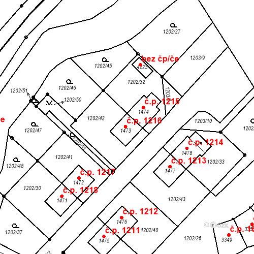 Katastrální mapa Stavební objekt Čáslav-Nové Město 1216, Čáslav