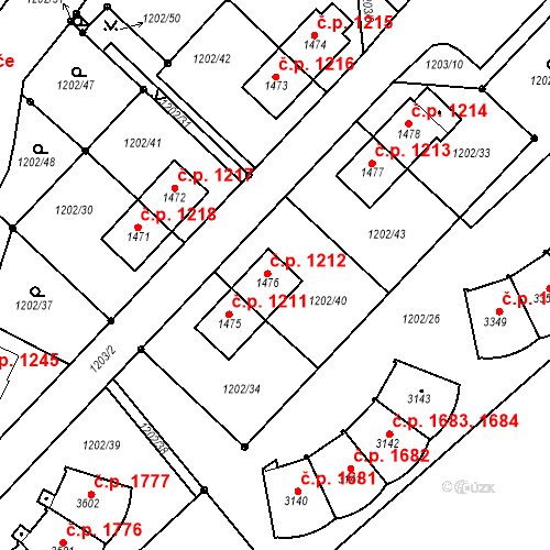 Katastrální mapa Stavební objekt Čáslav-Nové Město 1212, Čáslav