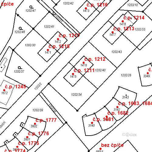 Katastrální mapa Stavební objekt Čáslav-Nové Město 1211, Čáslav