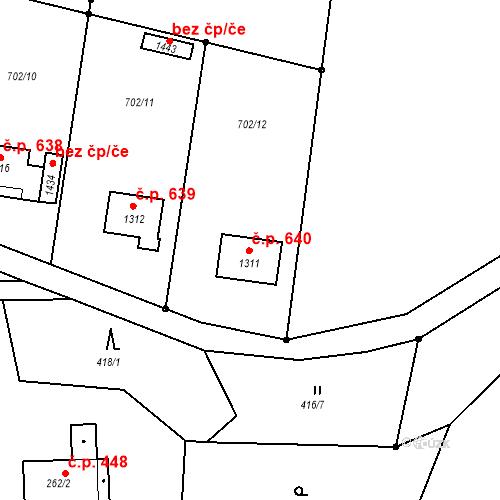 Katastrální mapa Stavební objekt Hejnice 640, Hejnice