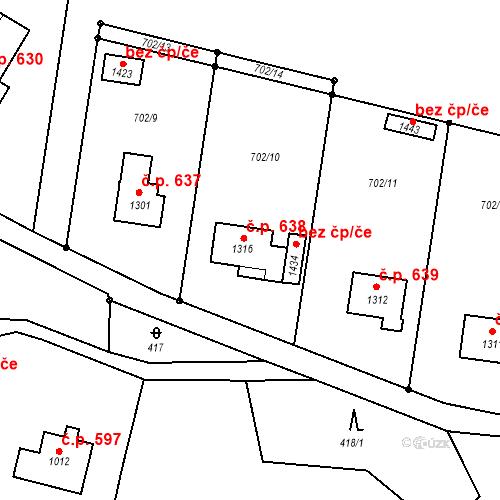 Katastrální mapa Stavební objekt Hejnice 638, Hejnice