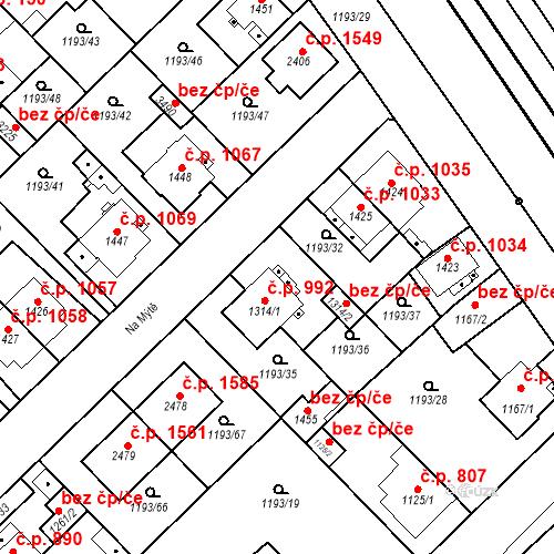 Katastrální mapa Stavební objekt Čáslav-Nové Město 992, Čáslav