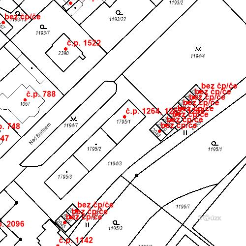 Katastrální mapa Stavební objekt Čáslav-Nové Město 1262, 1263, 1264, Čáslav
