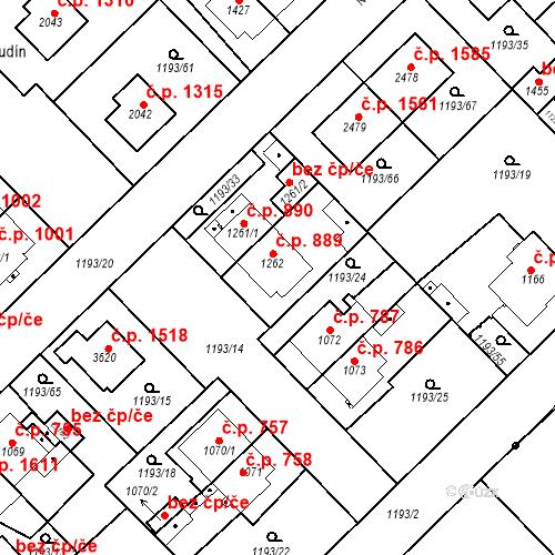 Katastrální mapa Stavební objekt Čáslav-Nové Město 889, Čáslav