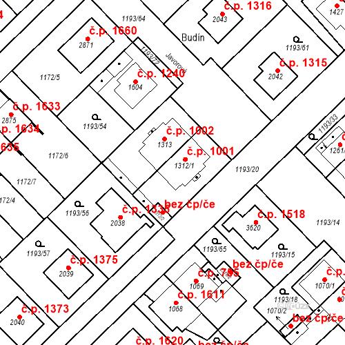 Katastrální mapa Stavební objekt Čáslav-Nové Město 1001, Čáslav