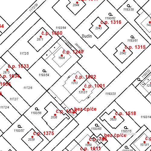 Katastrální mapa Stavební objekt Čáslav-Nové Město 1002, Čáslav