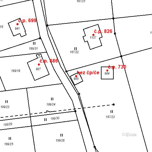 Katastrální mapa Stavební objekt Lučany nad Nisou 351