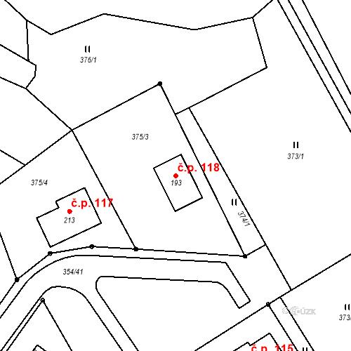 Katastrální mapa Stavební objekt Šimanov 118, Šimanov