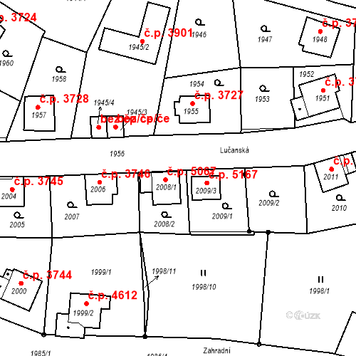 Katastrální mapa Stavební objekt Mšeno nad Nisou 5067, Jablonec nad Nisou
