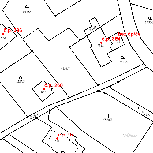 Katastrální mapa Stavební objekt Vranové 1.díl 260, Malá Skála