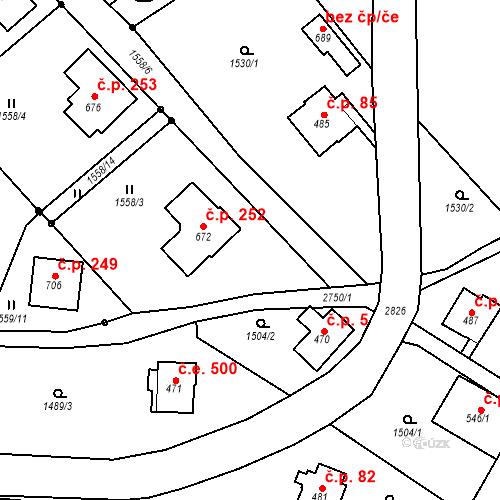 Katastrální mapa Stavební objekt Vranové 1.díl 252, Malá Skála