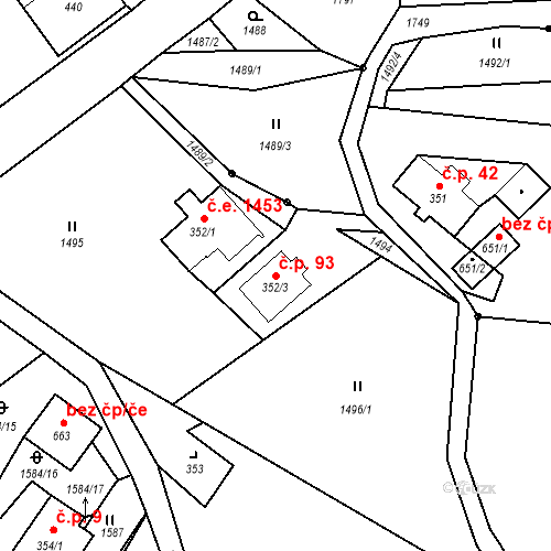 Katastrální mapa Stavební objekt Loučná nad Nisou 93, Janov nad Nisou
