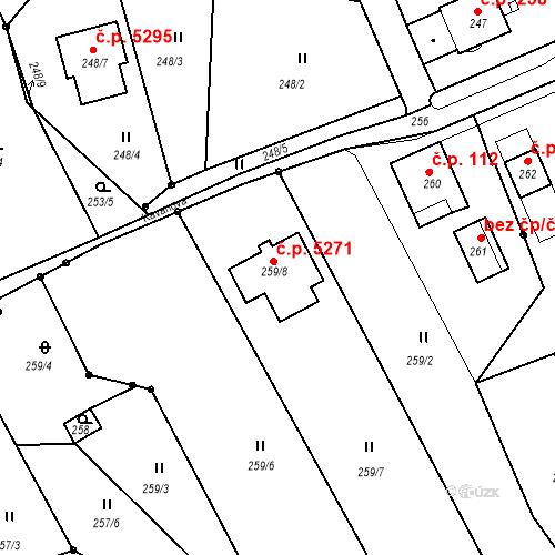 Katastrální mapa Stavební objekt Vrkoslavice 5271, Jablonec nad Nisou
