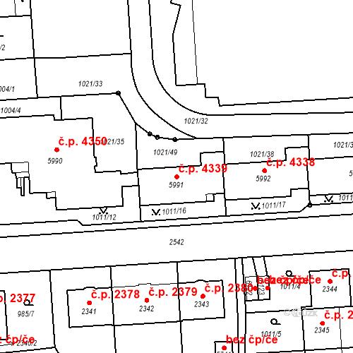 Katastrální mapa Stavební objekt Jablonec nad Nisou 4339, Jablonec nad Nisou