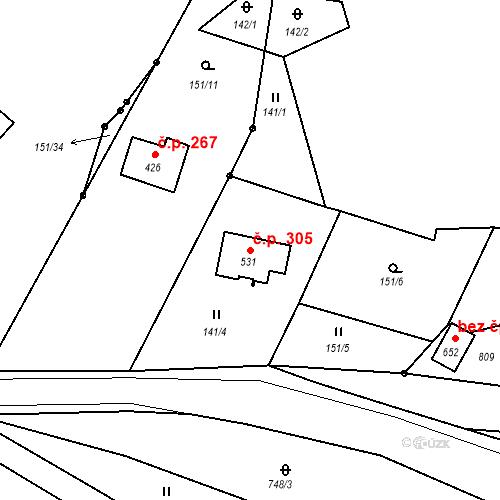 Katastrální mapa Stavební objekt Bedřichov 305, Bedřichov