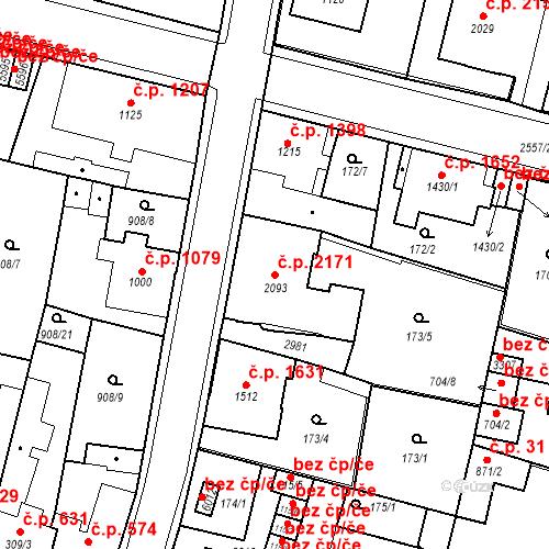Katastrální mapa Stavební objekt Jablonec nad Nisou 2171, Jablonec nad Nisou
