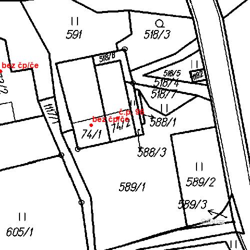 Katastrální mapa Stavební objekt Ústí 96, Ústí