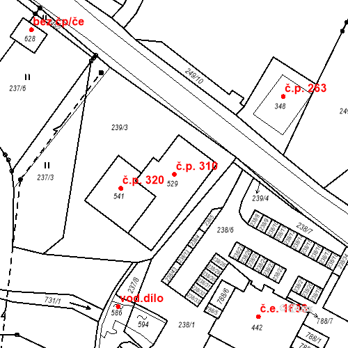 Katastrální mapa Stavební objekt Bedřichov 310, Bedřichov