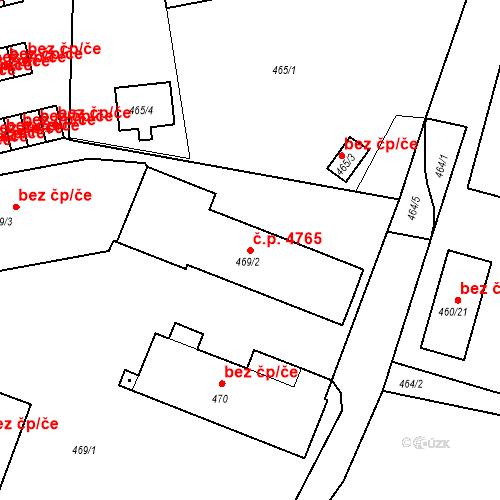 Katastrální mapa Stavební objekt Rýnovice 4765, Jablonec nad Nisou