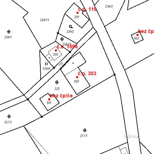 Katastrální mapa Stavební objekt Bedřichov 303, Bedřichov