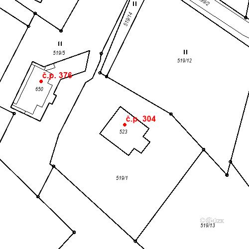Katastrální mapa Stavební objekt Bedřichov 304, Bedřichov